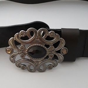 White House Black Market black leather belt SZ M